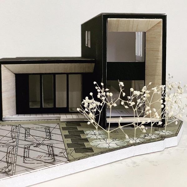 黒と木の家